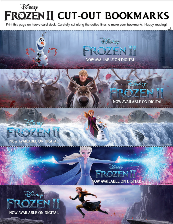 Free Printable Frozen cut out book marks from Disney