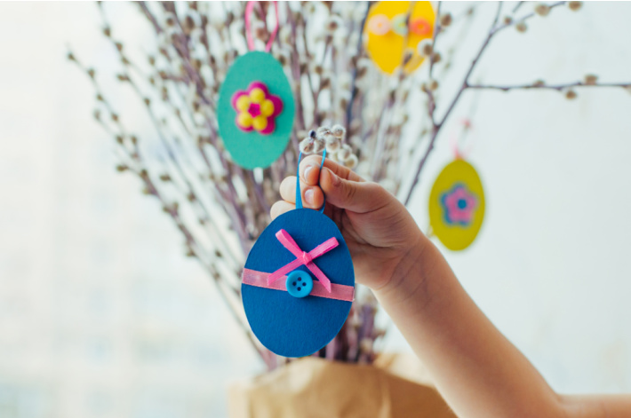 Paper Easter Egg Craft - small to decorate a pussy willow tree - Kids Activities Blog
