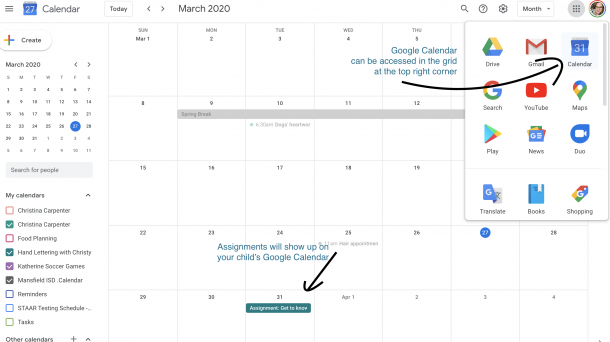 Google Calendar image showing where an assignment will show up.