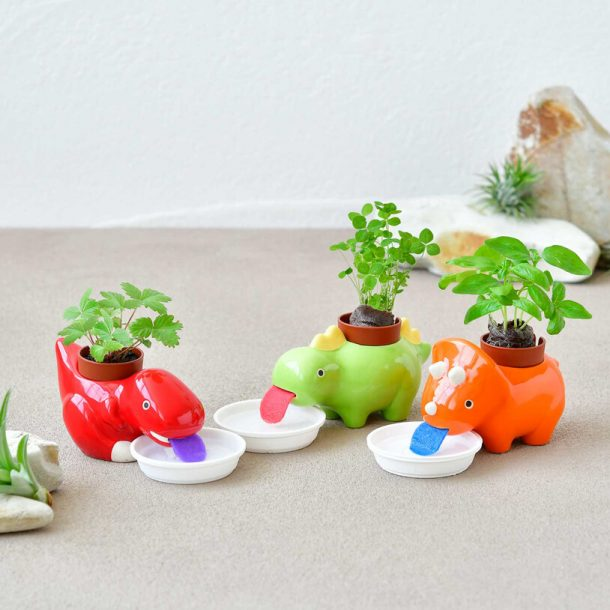 Greenzaurus Drinking Dinosaur Planters - 3 self-watering dino planters that use tongue to drink water