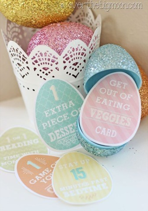 Easter eggs filled with cards that have benefits for kids