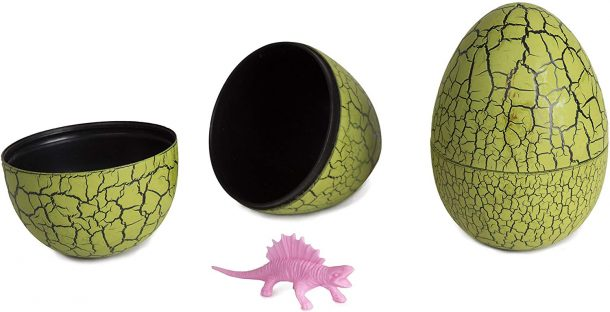 Dinosaur Easter eggs - pink dinosaur shown in an open hatched green egg