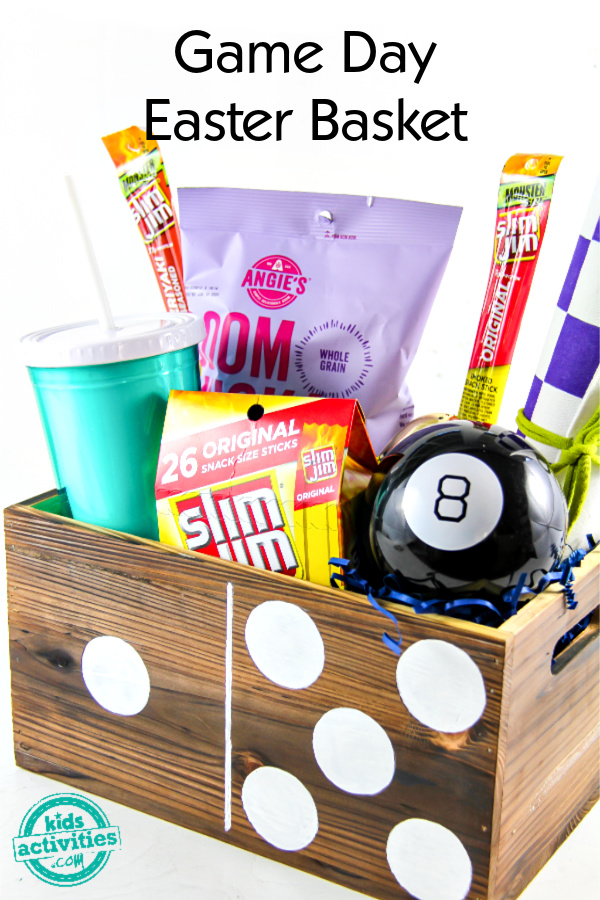 Snacks and games in a domino wood box