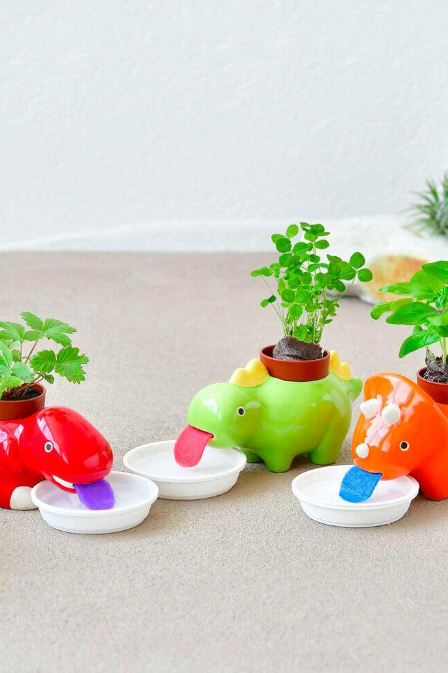 These Self-Watering Dinosaur Planters Are So Cute, You Need One