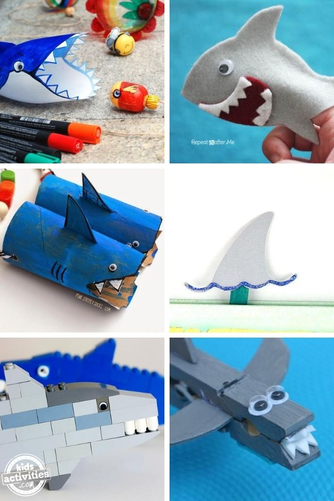 collage of shark crafts and shark activities