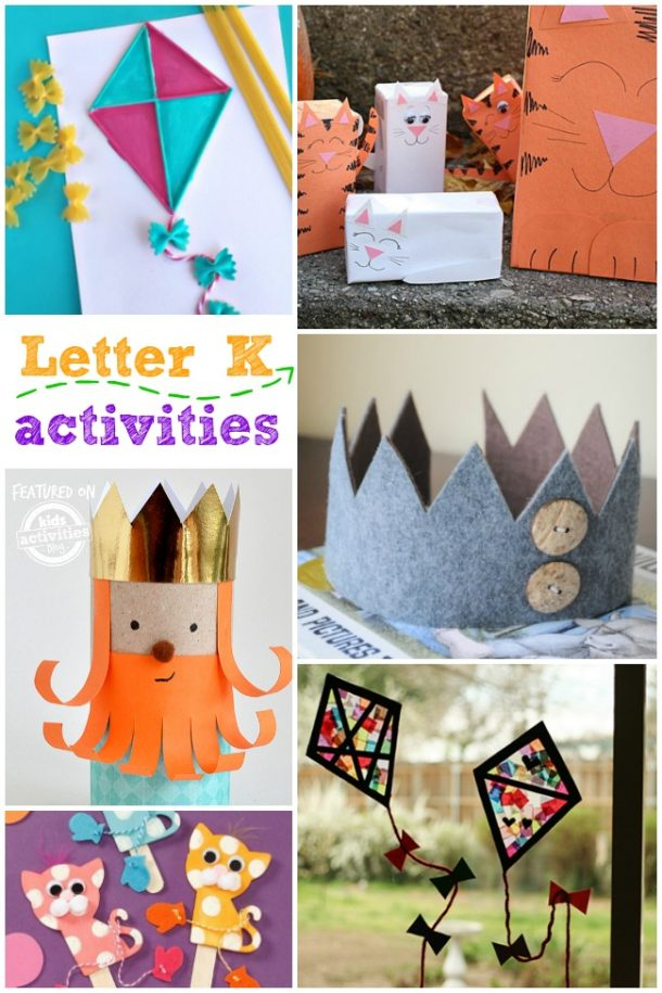 letter k activities for kindergarten, preschool age kids - kite, king and kittens are pictured