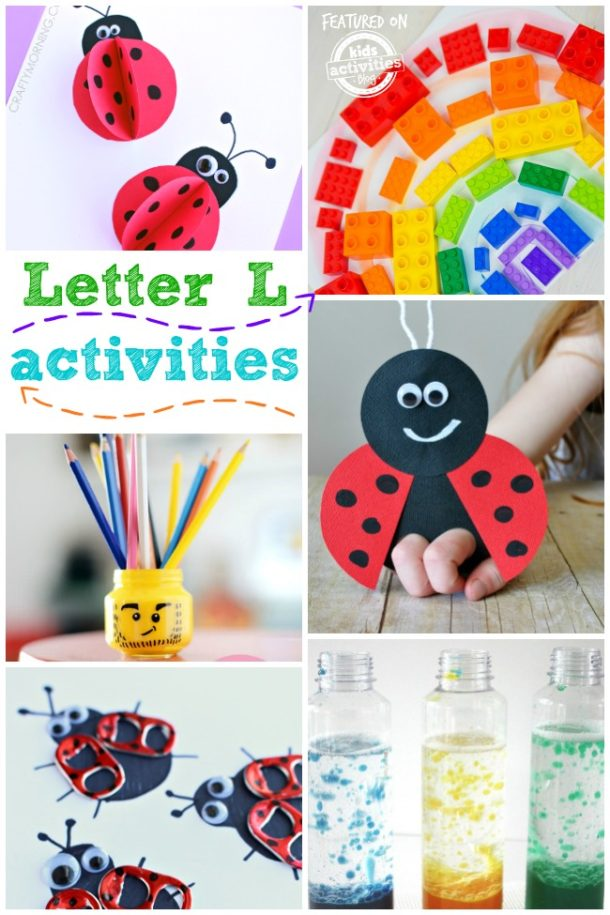Letter L activities and worksheets for kids - ladybug and lego ideas are pictured