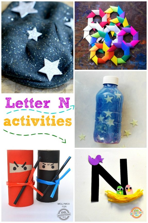 Words that start with N - activities for the letter n for learning the alphabet - pictured is ninja, nest and night