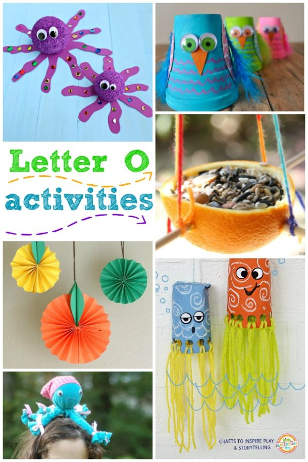 Letter O Activities for kindergarten and preschool - octopus, owl and orange are pictured