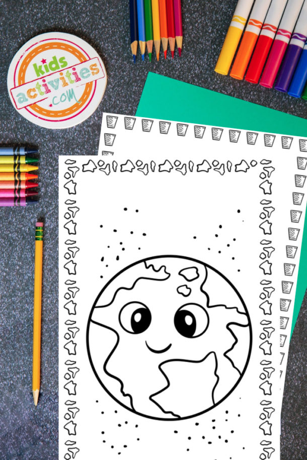 Free Earth Day Printable Coloring Pages for Kids - earth day coloring page pdf shown with crayons and markers