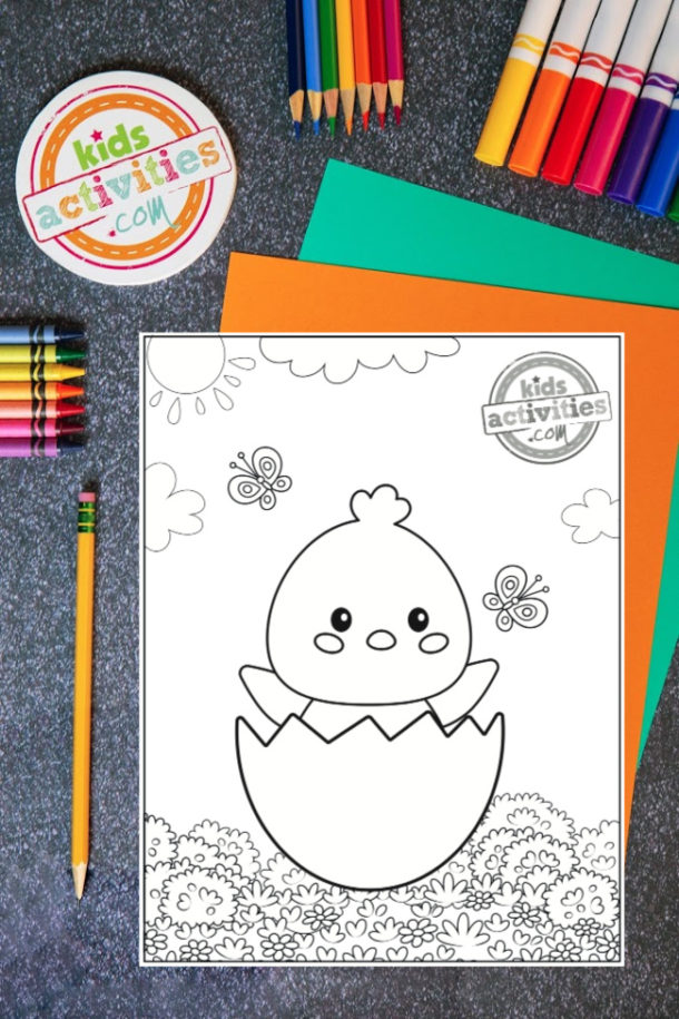 Free Printable Baby Chick Coloring Page from Kids Activities Blog
