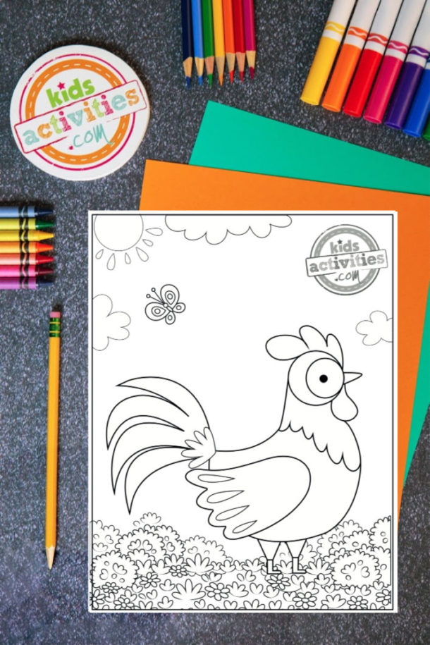 Free Printable Rooster Coloring Page from Kids Activities Blog
