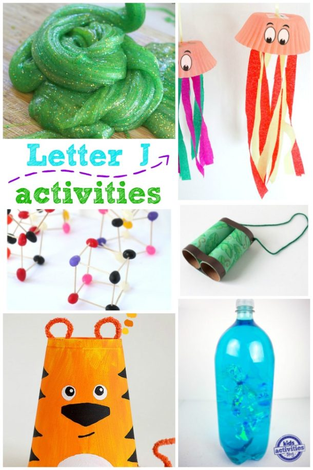 letter J activities for kindergarten and preschool - jellyfish, jelly bean and more ideas pictured