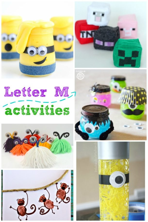Words that start with the letter M activities for kids - monster, monkey and minecraft are pictured