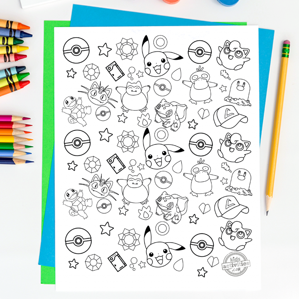 Pokemon doodle art coloring pages for adults