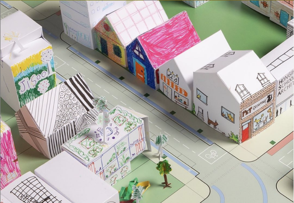 Paper city made by this architecture for kids STEM project