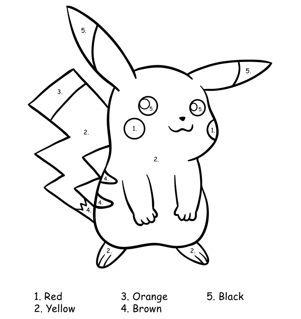 screenshot of pikachu pokemon color by number for beginners