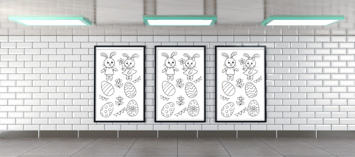Series of coloring wall posters hung in poster frames on wall - Kids Activities Blog