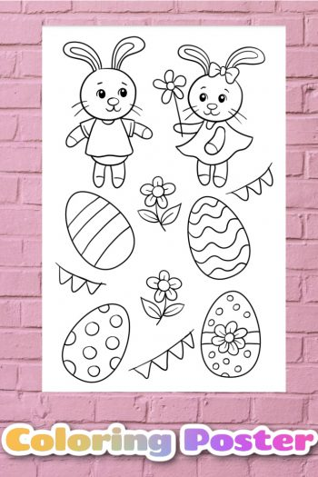 Easter Coloring Page Poster - Really big coloring mural - Kids Activities Blog