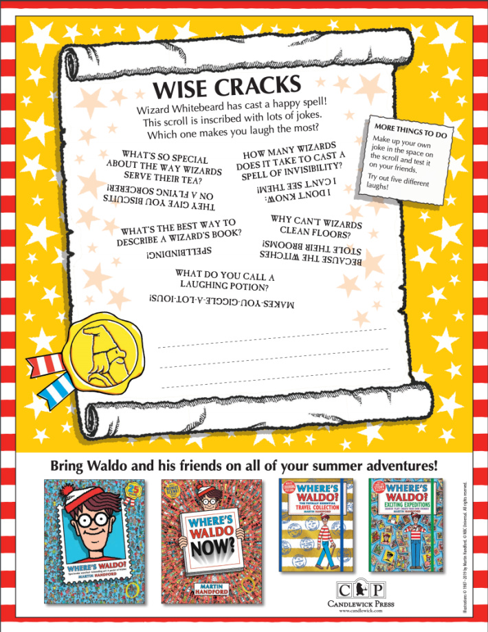 Wheres Waldo Online Printable Wise Crack Jokes from Candlewick - Kids Activities Blog - pdf of jokes and riddles for kids