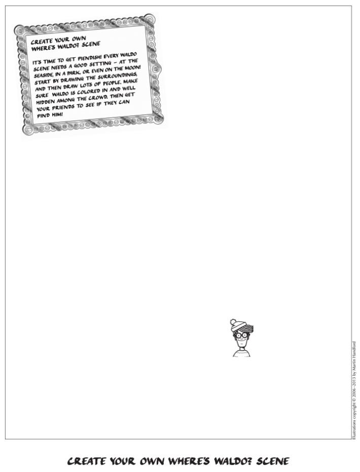 Wheres Waldo online free printable activity from Candlewick - Kids Activities Blog - open invitation to draw pdf image from Wheres Waldo