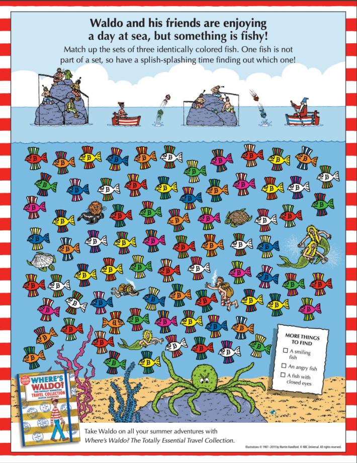 Wheres Waldo online hidden fish pictures printable from Candlewick - Kids Activities Blog - pdf of printable matching game available for printing