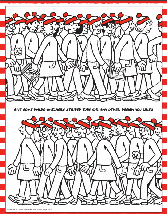 Wheres Waldo online printable art activity - design clothing for Waldo from Candlewick - Kids Activities Blog - pdf shown of the activity for kids