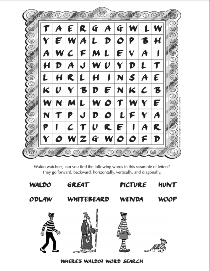 Wheres Waldo online printable word search for kids from Candlewick - Kids Activities Blog - pdf shown with word search for kids