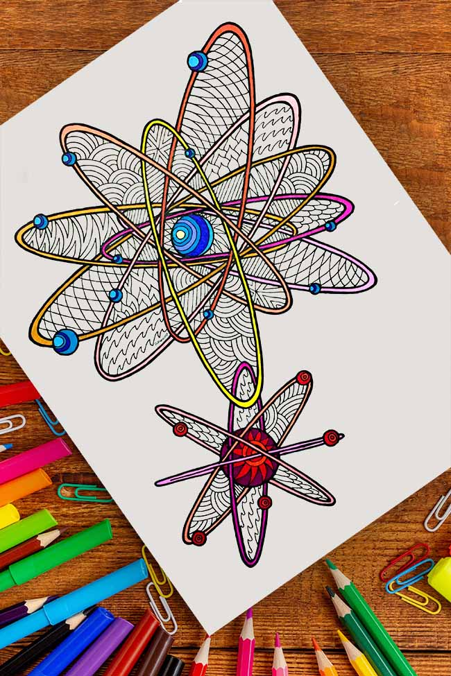 zentangle art design of chemistry atoms colored with markers and pencils
