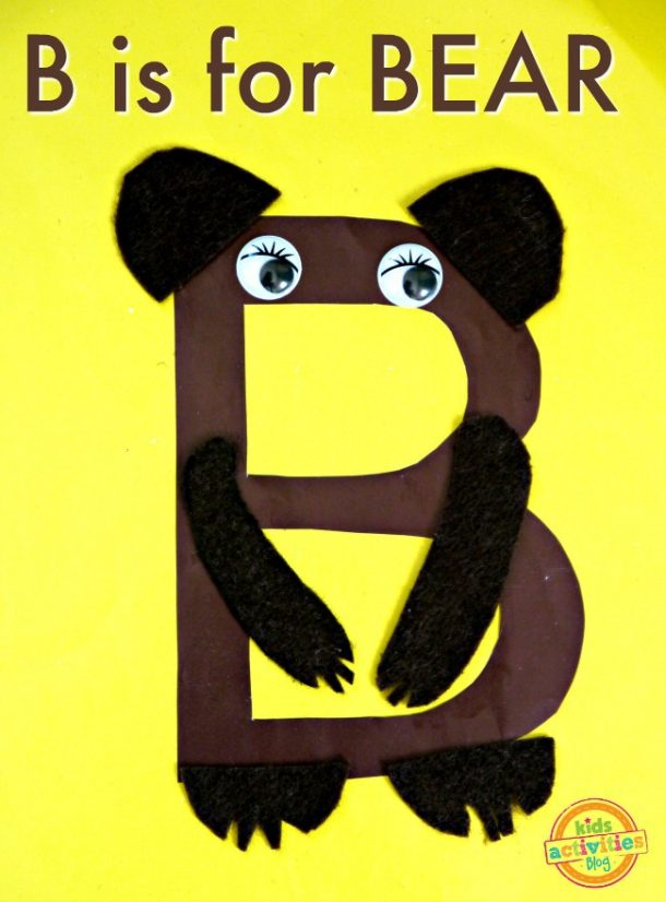 letter b activity for preschoolers - B is for Bear craft to make at home or in classroom