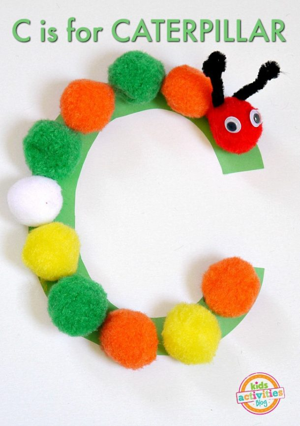 simple letter c craft for preschoolers alphabet recognition - c is for caterpillar