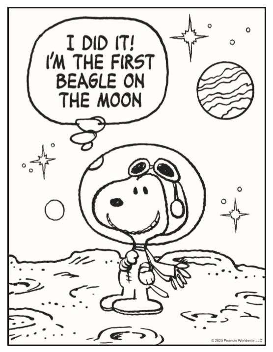 Snoopy coloring page for kids from Peanuts.com
