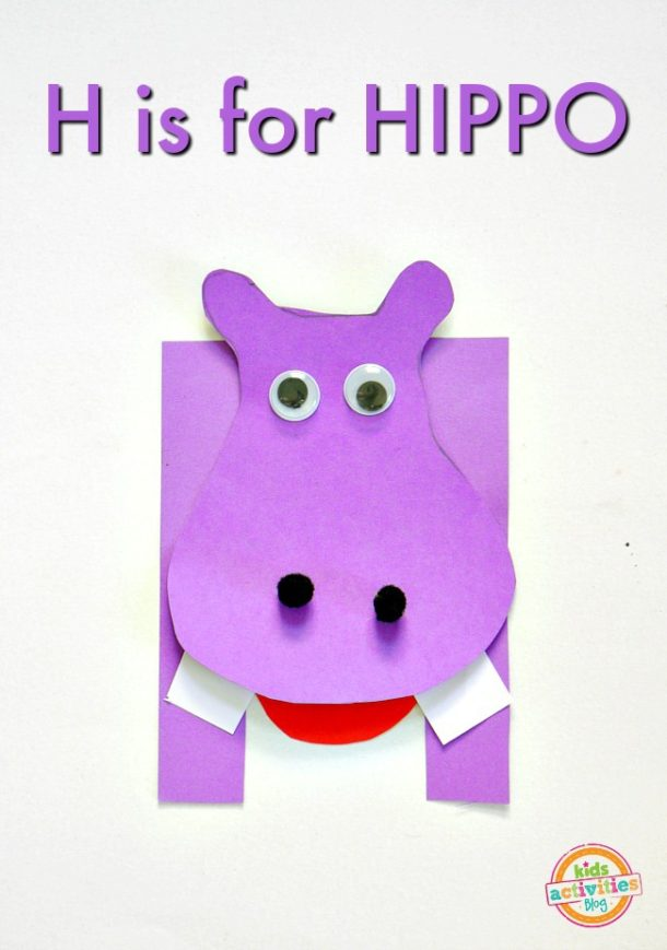 H is for Hippo - letter H craft for Kindergarten and preschool made out of craft paper