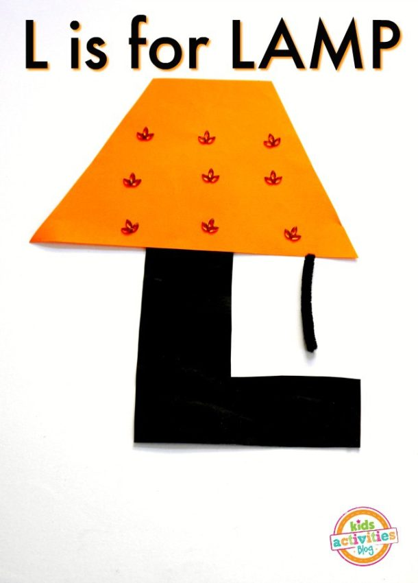 Kindergarten preschool letter l craft for kids - l is for lamp made out of craft paper