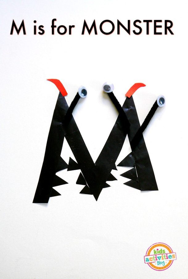 M is for Monster - letter m craft for kindergarten and preschool age kids made out of craft paper