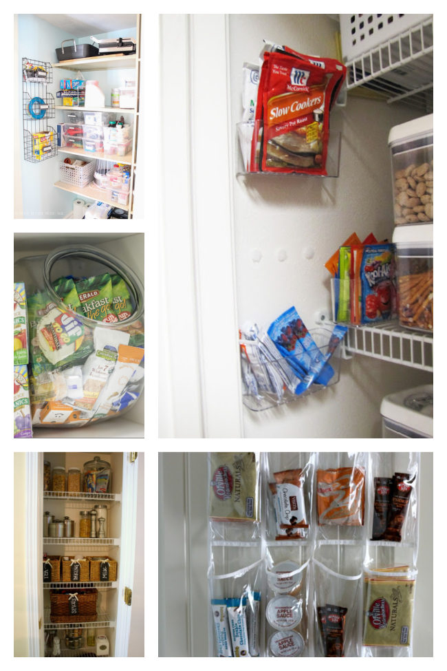 Making extra space by organizing your pantry with sink caddies, shoe holders, wicker baskets.