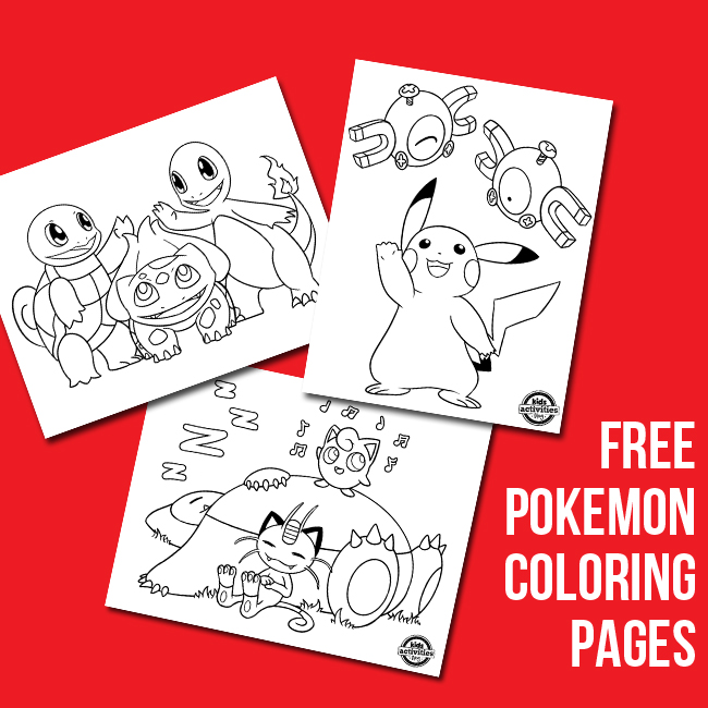 more free pokemon coloring pages from Kids Activities Blog - three shown including Pikachu and Magnemite