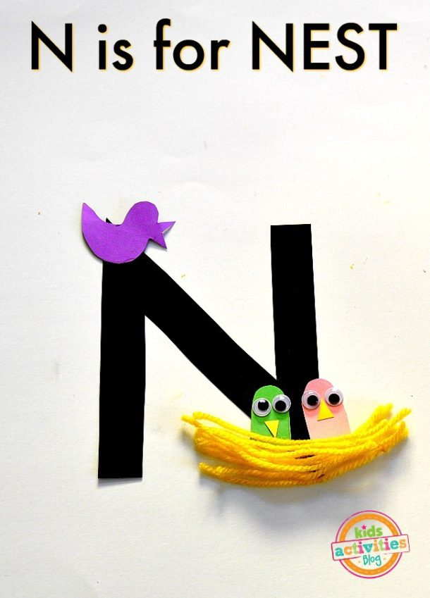 N is for nest - letter n craft for kids age preschool and kindergarten nest with craft paper and yarn