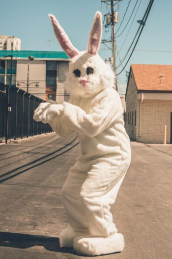 Track the Easter bunny this year with the Easter bunny tracker - Easter bunny standing on the street