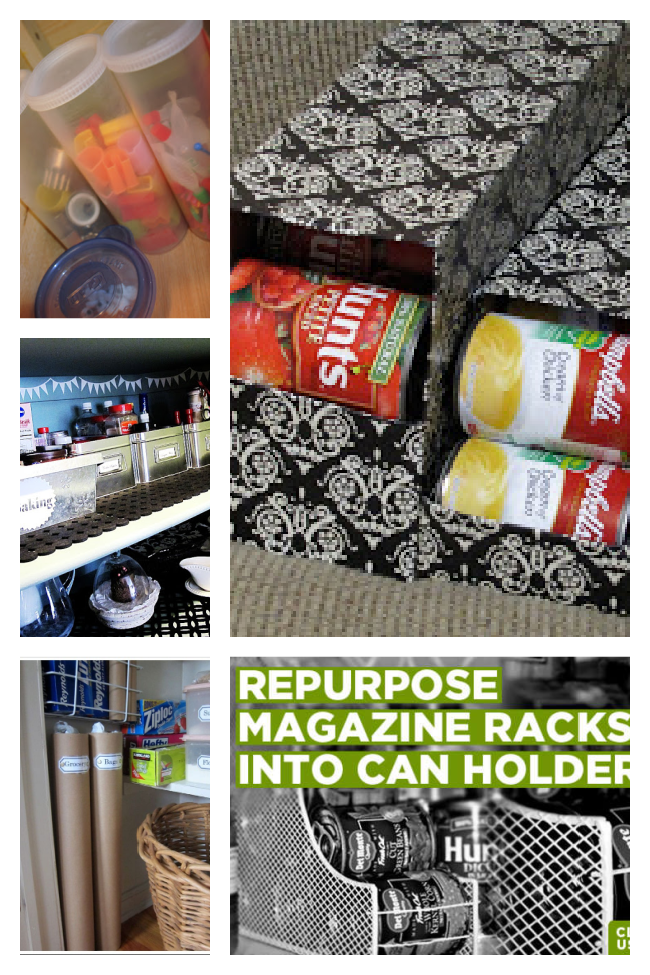 pantry organizing with soda boxes holding cans, mailing tubes, magazine racks, crystal light containers.