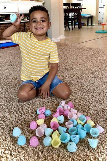 preschool letter matching game using plastic Easter eggs