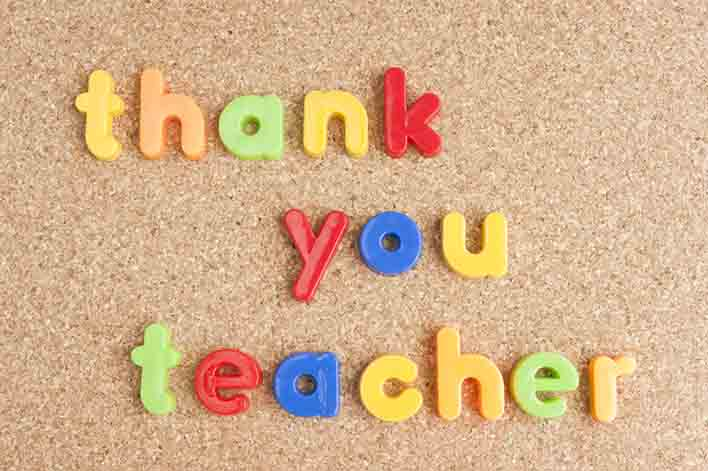 thank you teacher letters spelled out on a corkboard background encouraging families to participate in teacher appreciation week