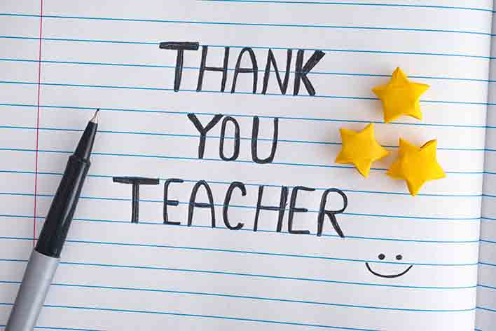 a sweet note to show gratitude for educators during teacher appreciation week