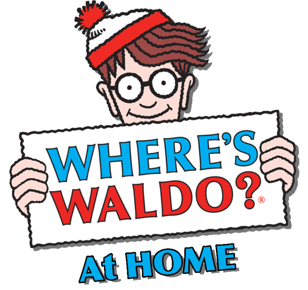 Wheres Waldo at home - Waldo is shown with red and white hat holding sign that says Where's Waldo? At Home