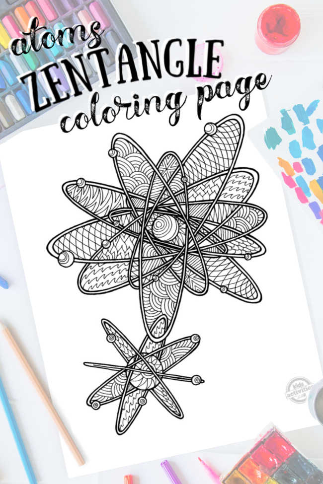 Science Zentangle Atoms design - coloring page with intricate pattern drawing with colored pencils