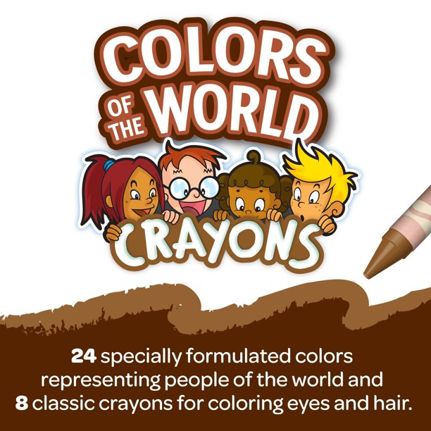 New crayola crayons and products called Colors of the World