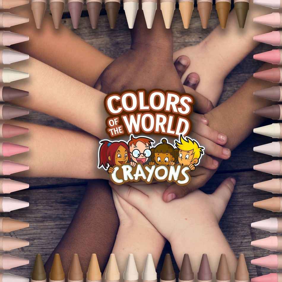 A group of diverse kids all touching hands to represent the crayola skin color crayons.