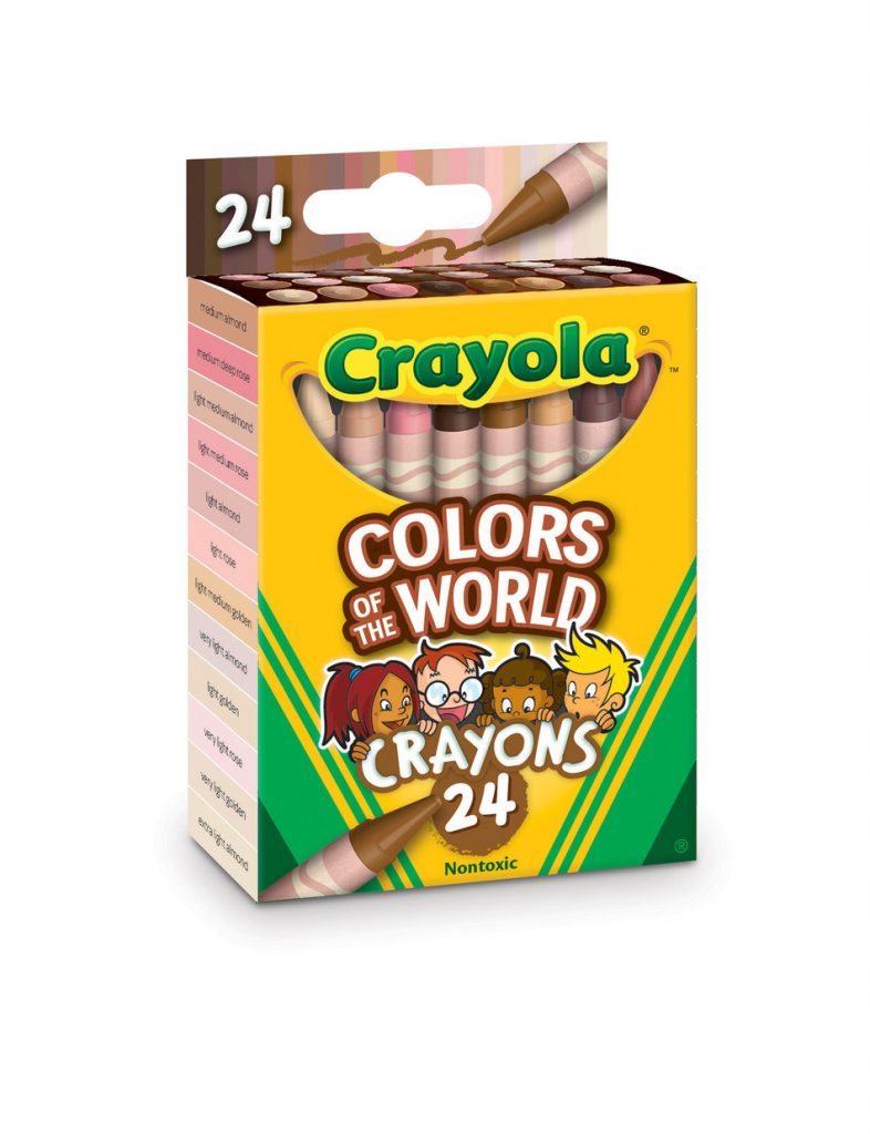 A 24 pack of Crayola Colors of the World crayons