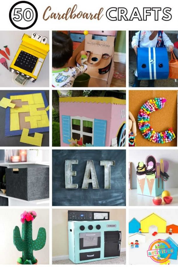 collage of cardboard crafts to do with kids