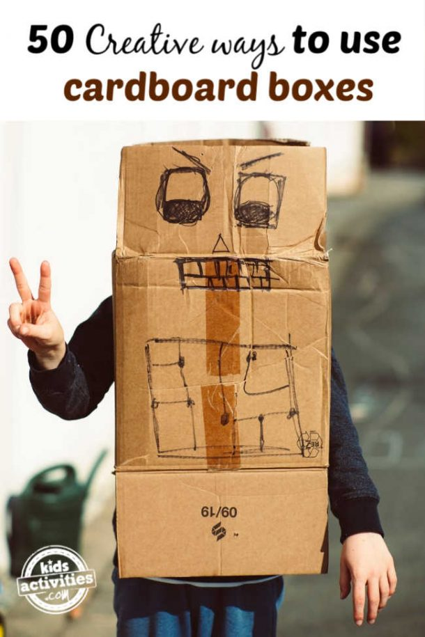 man wear cardboard box robot